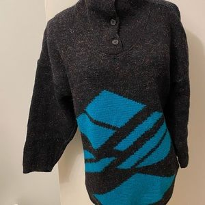 Vintage 80s fuzzy navy 3/4 sleeves button sweater